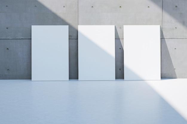 Пустая белая рамка на гранж грубой серой цементной стены текстуры пола свет и тень