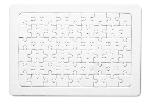 Empty white paper jigsaw puzzles success mosaic mockup for printable puzzle pieces grid design