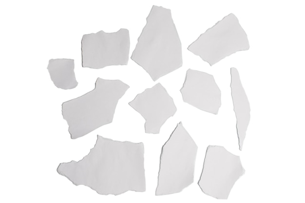 Empty white paper pieces isolated. space for text or design.
