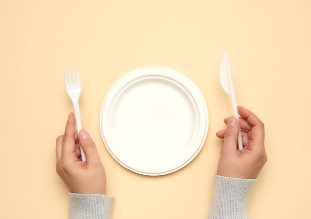 空の白い紙皿とカトラリー