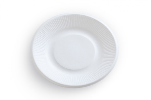 Empty white paper plate isolated on white background shoot in studio.