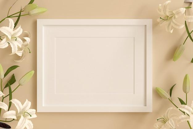 テキストまたは画像を挿入するための空の白い額縁に、白い花がオレンジ色のパステルカラーで飾られています。