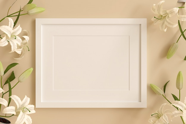 Empty white picture frame for insert text or image inside with white flower decorate on orange pastel color.