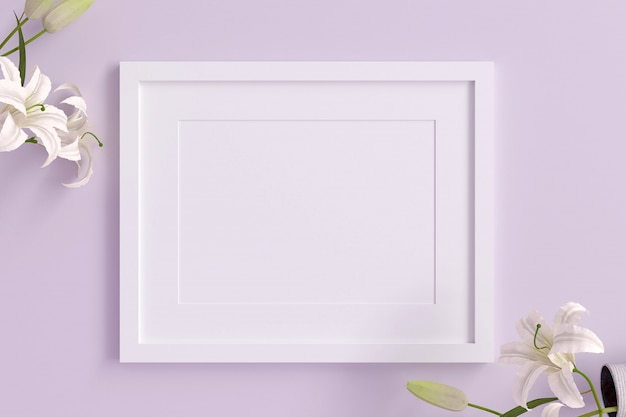 Empty white picture frame for insert text or image inside with white flower decorate on violet pastel color.