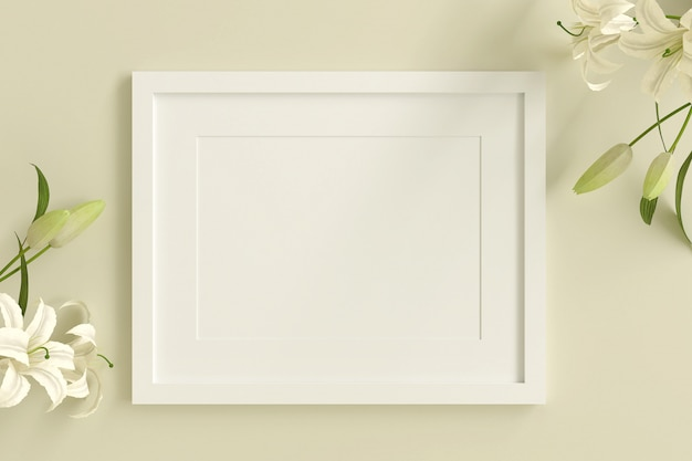 Empty white picture frame for insert text or image inside with white flower decorate on yellow pastel color.