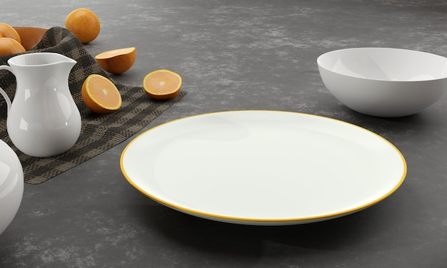 Empty white plate and bowl over dark concrete background with orange fruit, milk jug, teapot. 3d