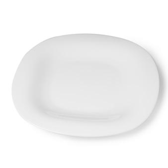空の白いプレート、白い背景で隔離