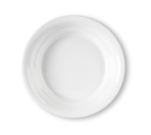 Пустая белая тарелка, изолированные на белом фоне
