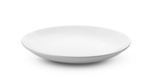 Empty white plate on white background