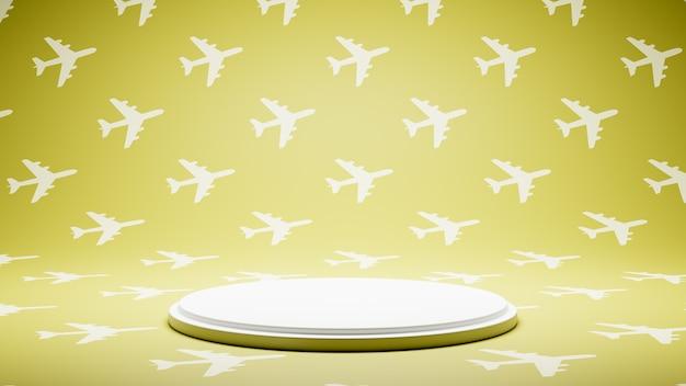 비행기 모양 패턴 스튜디오에 빈 흰색 플랫폼