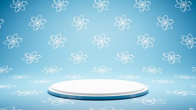 원자 기호 패턴 스튜디오에 빈 흰색 플랫폼