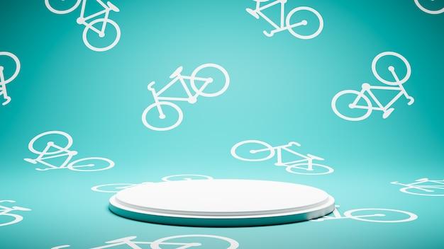 자전거 패턴 스튜디오에 빈 흰색 플랫폼