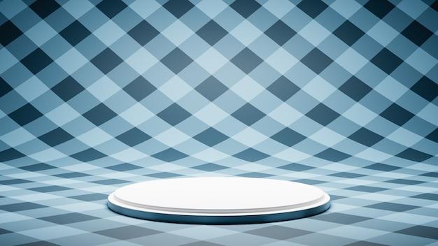 블루 스트라이프 패턴 스튜디오에 빈 흰색 플랫폼