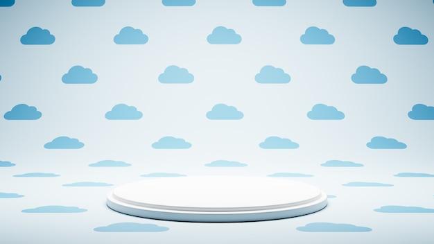 구름 모양 패턴 스튜디오에 빈 흰색 플랫폼