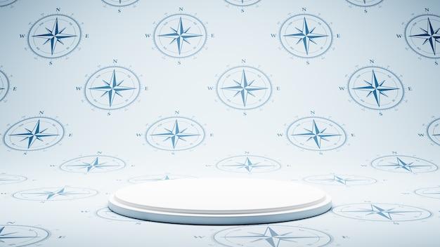 나침반 패턴 스튜디오에 빈 흰색 플랫폼
