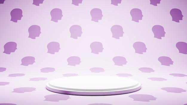 인간의 머리 프로필 모양 패턴 스튜디오에 빈 흰색 플랫폼