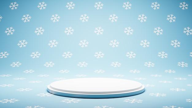 Пустая белая платформа на студии snow pattern