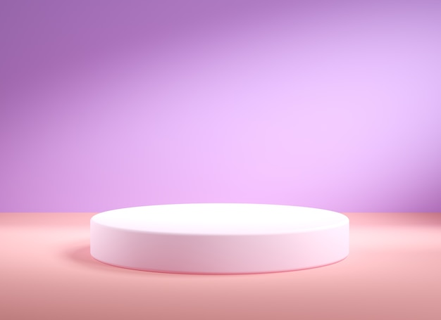 空の白い表彰台、最小限の抽象的な背景、3d