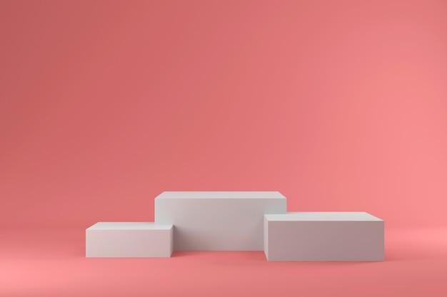 ピンクスタジオの空の白い表彰台