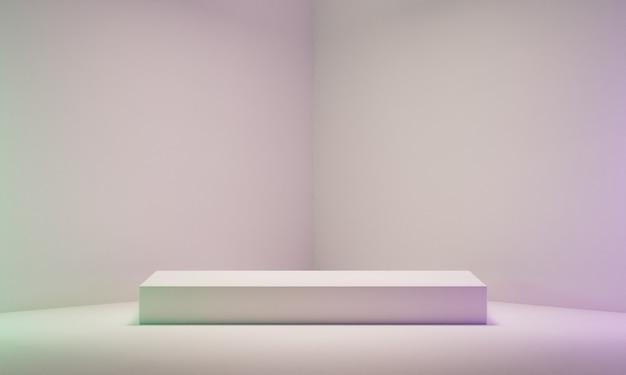 흰색 모서리 배경에 빈 흰색 연단 프리미엄 사진