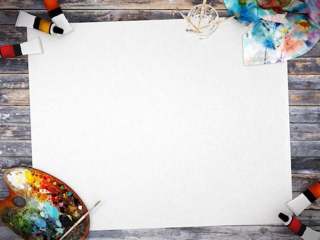 Пустая белая плакатная бумага с пространством для макета на фоне дерева, 3d-рендеринг