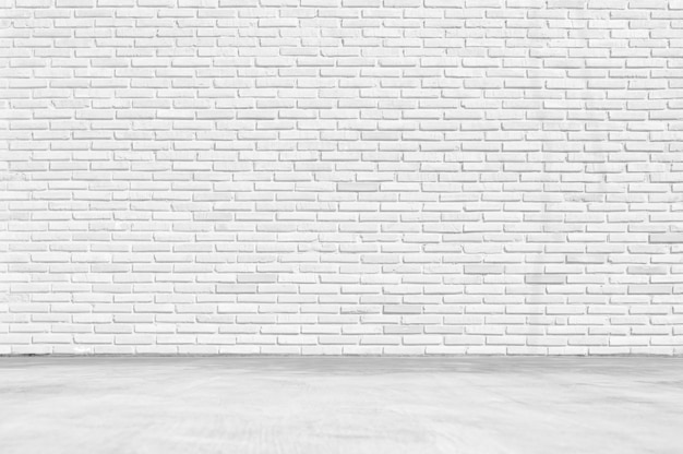 Empty white room ,clean white brick wall texture with white floor background