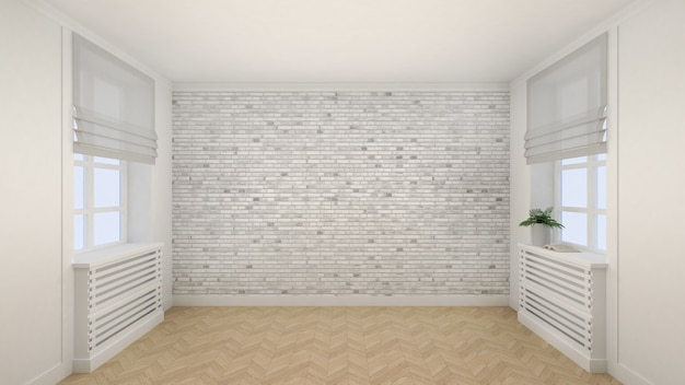 Empty white room interior modern style with windows and wooden floor. 3d render