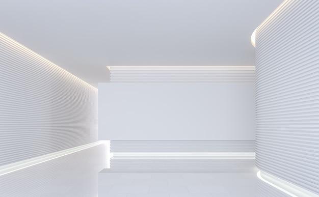 Пустая белая комната в современном космическом интерьере 3d визуализации