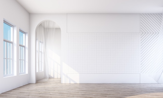 Empty white room with arch and window