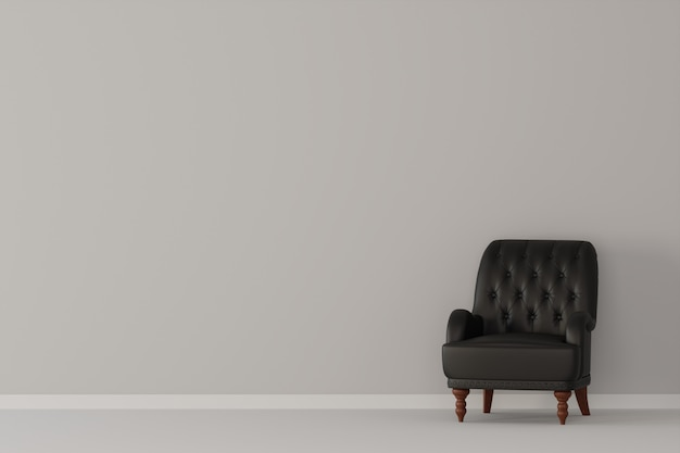黒革のソファと空の白い部屋。 3dレンダリング。