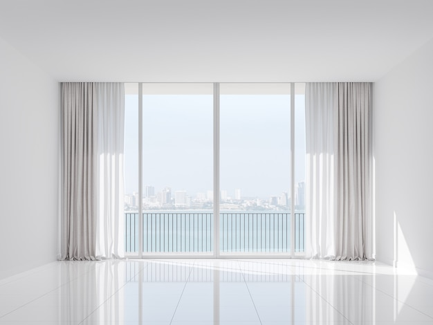 Empty white room with city view