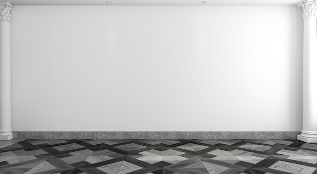 Empty white room with classical style