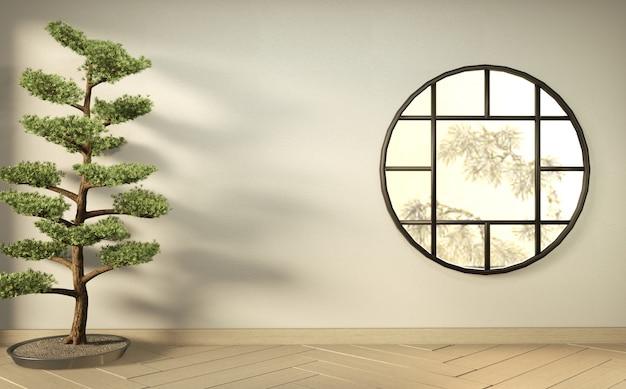 Empty white room on wooden floor interior design. 3d rendering