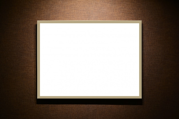 Empty white signboard on brown background
