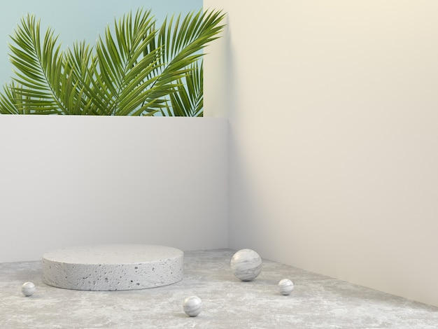 Empty white stone podium outdoor scene with palm leaves 3d render