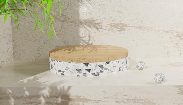빈 흰색 테라조 연단 디스플레이 및 나뭇잎 3d 배경 렌더링 premium 사진
