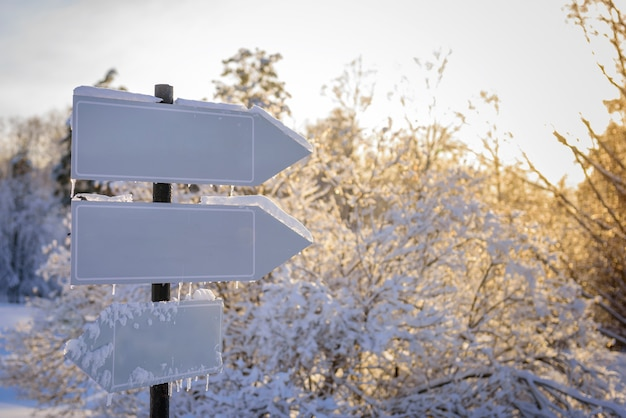 Empty white track pointers, guidepost in sunlight against winter nature. directional arrow signs on wooden pole in snowy forest.