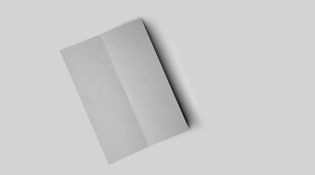 중간 회색 콘크리트 배경에 부드러운 그림자가 있는 빈 흰색 수직 사각형 가격 목록 또는 메뉴 모형.