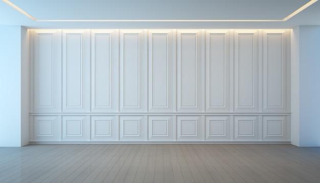 空の白い壁とフローリングの部屋、ビンテージインテリアデザイン。