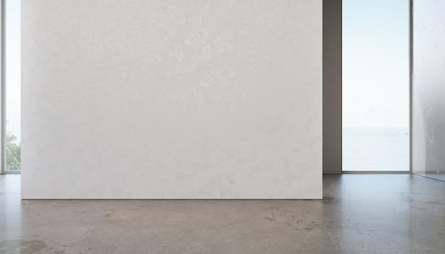 별장 또는 휴가 빌라에서 빈 흰색 벽 배경