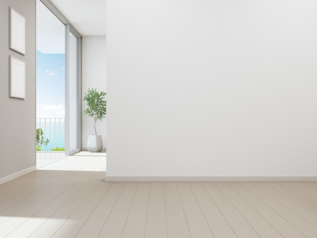 Empty white wall background in vacation home or holiday villa