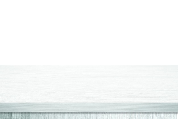 Empty white wooden table top, desk isolated on white background