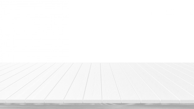 Empty white wooden table top isolated on white background,