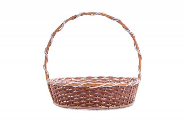 Empty wicker basket with clipping paths isolated on white isolated
