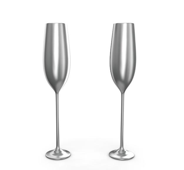白い背景の3dレンダリングで分離された空のワイングラス