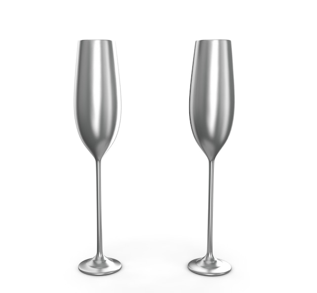 Empty wine glass isolated on white background 3d render