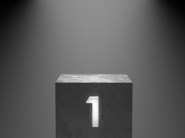 Empty winner concrete podium with number one neon glowing light on spotlight background