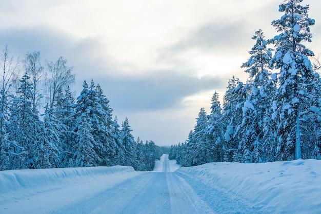 雪に覆われた森の中の空の冬の高速道路。フィンランドの夕べ