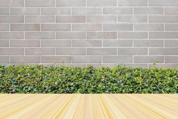 회색 벽돌 벽 배경으로 녹색 식물을 가진 빈 나무 바닥