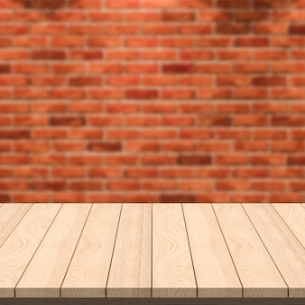 空の木製テーブルとレンガの壁